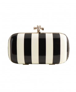 Black and White Stripe Evening Bag with Chain