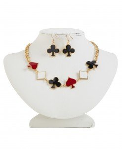 Playing Card Necklace and Earring Set
