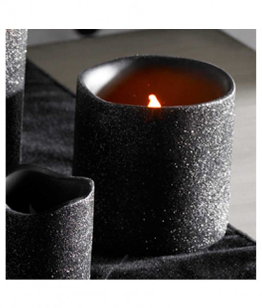 3 Inch Black Glitter LED Candle