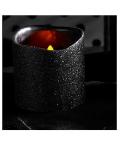 4 Inch Black Glitter LED Candle