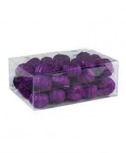 36 Piece Purple Glitter Mini Pumpkins