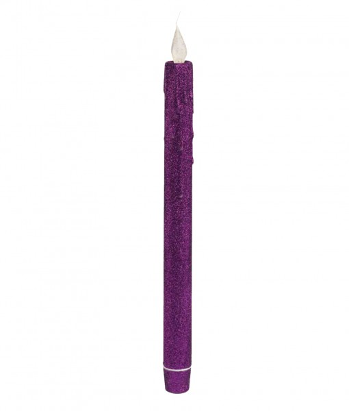 Purple Glitter Taper LED Candle