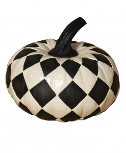 6.8 Inch Resin Black & White Diamond Pumpkin
