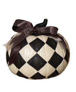 9 Inch Resin Black & White Diamond Pumpkin