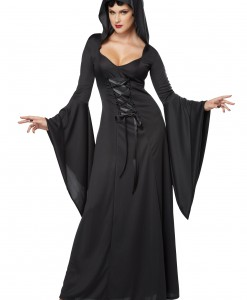 Plus Size Hooded Black Lace Up Robe