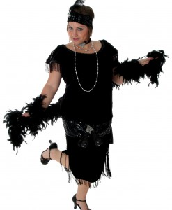 Deluxe Black Plus Size Flapper