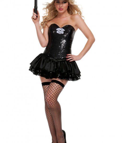 Black Sequin Cop Costume