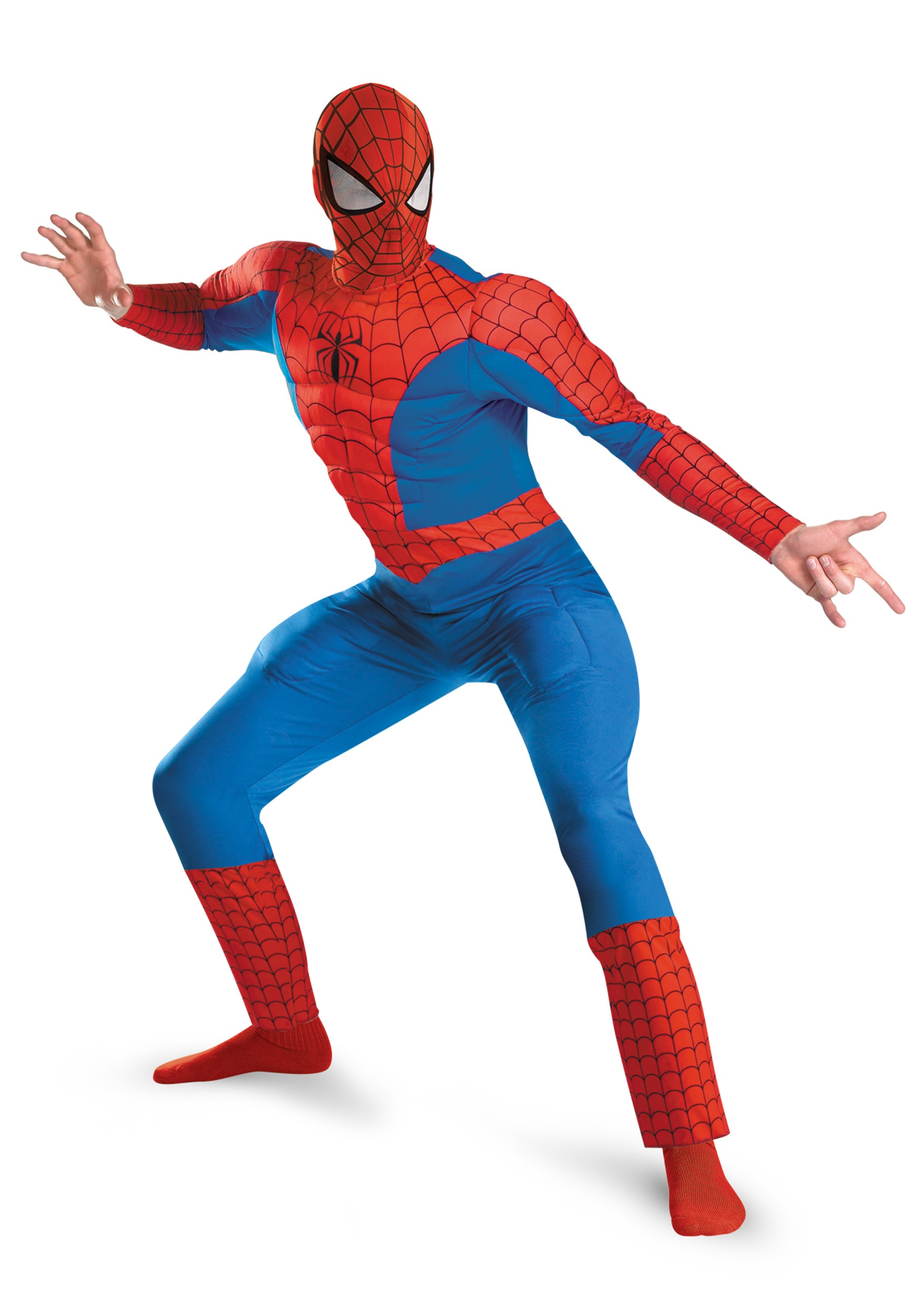 Spider Man Halloween Costume Adults.Muscle Chest Adult Spiderman Costume