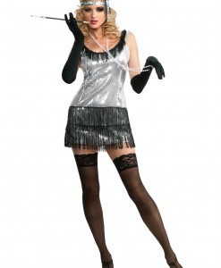 Black and Silver Sequin Flapper Costume