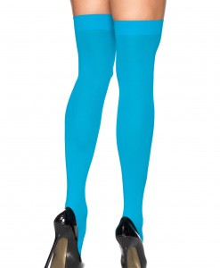 Neon Blue Thigh High Stockings