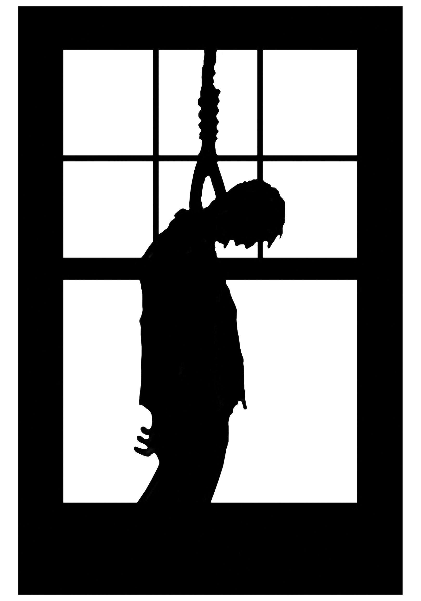 hanging man window cling