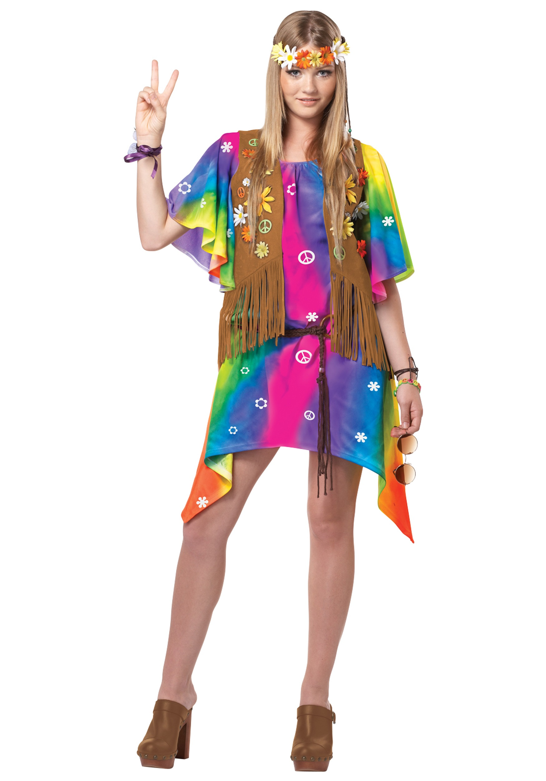 teen groovy girl hippie costume - halloween costume ideas 2018
