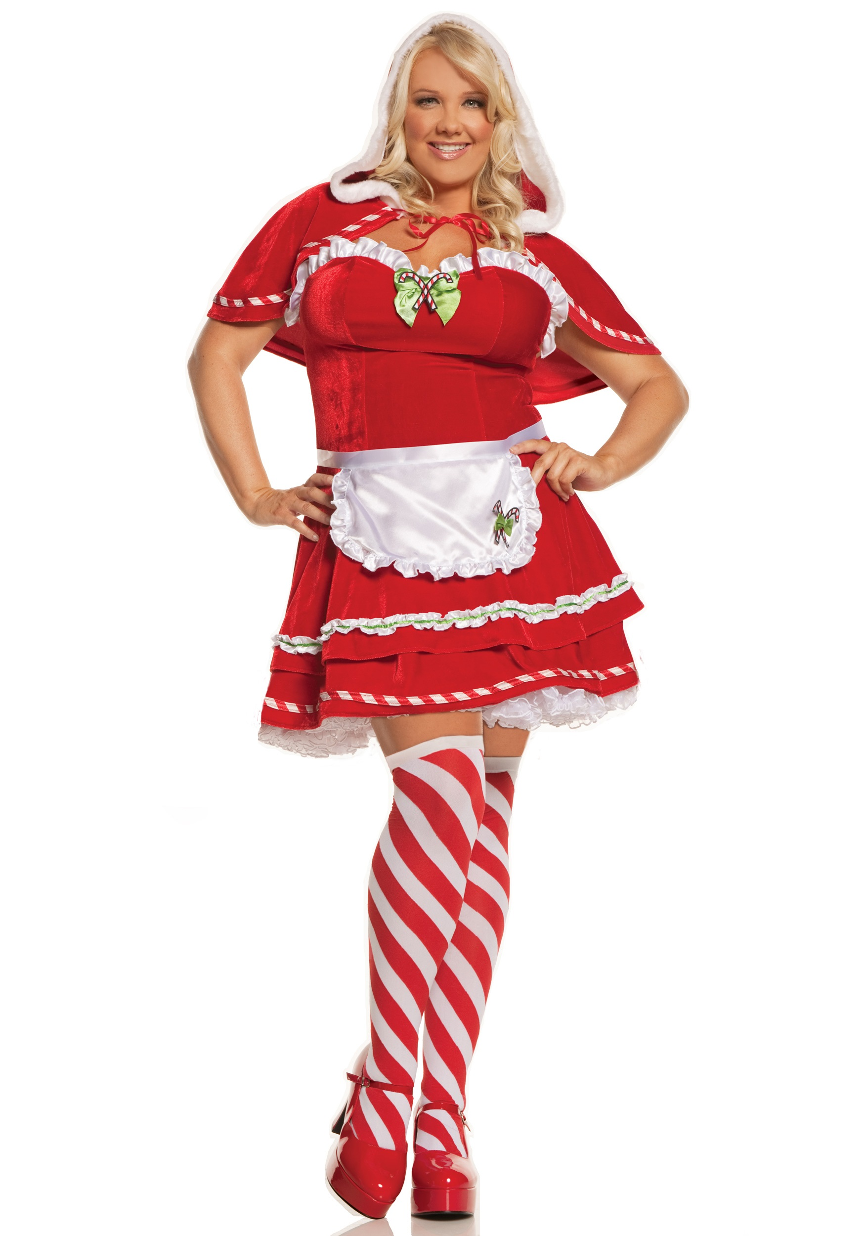 Plus Size Christmas Costumes.Plus Miss Candy Cane Costume
