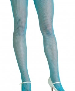 Neon Blue Fishnet Tights