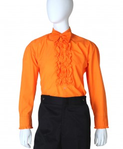 Orange Ruffled Tuxedo Shirt