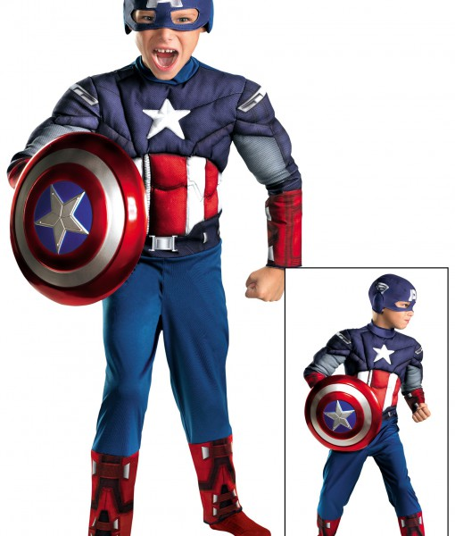 Kids Avengers Captain America Muscle Costume