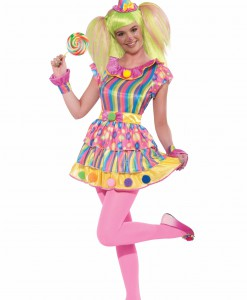 Teen Girls Polka Dot Clown Costume