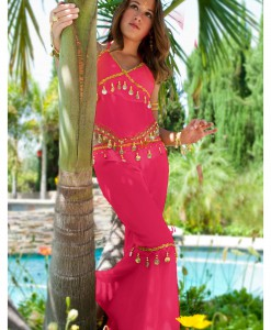 Fuchsia Teen Belly Dancer Costume
