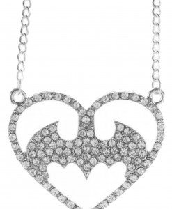 Batman Logo Heart Bling Necklace