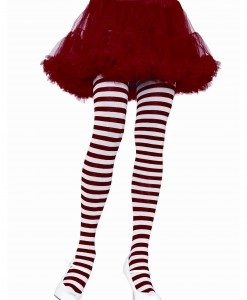 White / Red Striped Tights