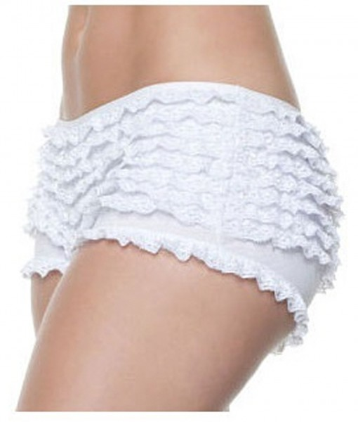 Plus Size White Ruffle Boy Shorts