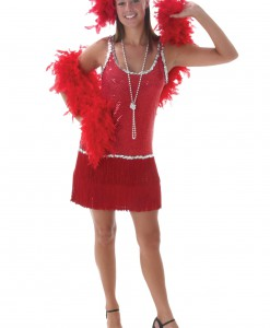 Sequin & Fringe Red Flapper Costume