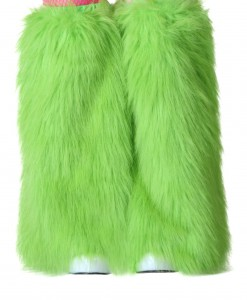 Child Green Furry Boot Covers