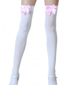 White Stockings with Pink Bows