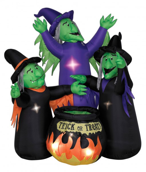 Animated Airblown Three Witches and Cauldron