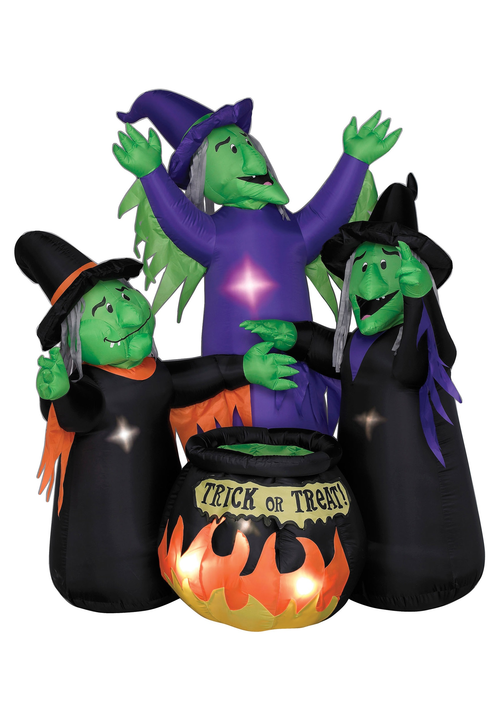 Animated Airblown Three Witches And Cauldron Halloween