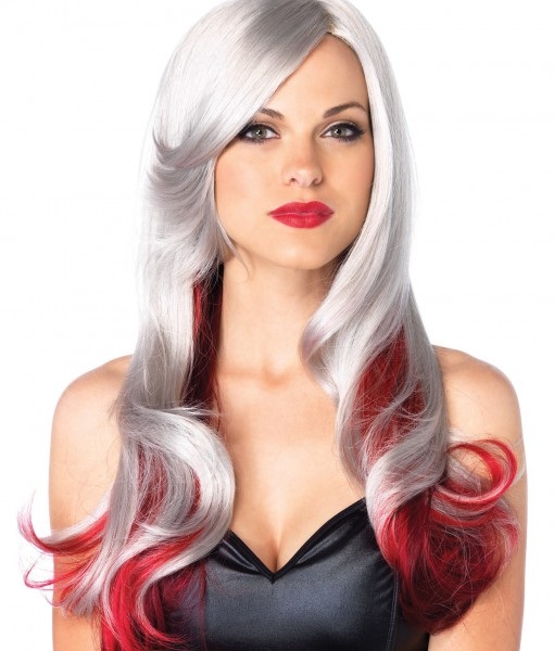 Red and Gray Two Toned Wig