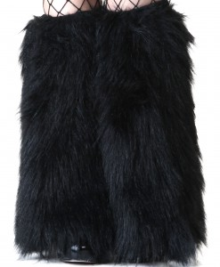 Child Black Furry Boot Covers