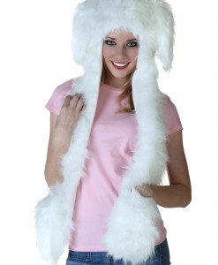 Floppy Ear White Rabbit Hat w/Mittens