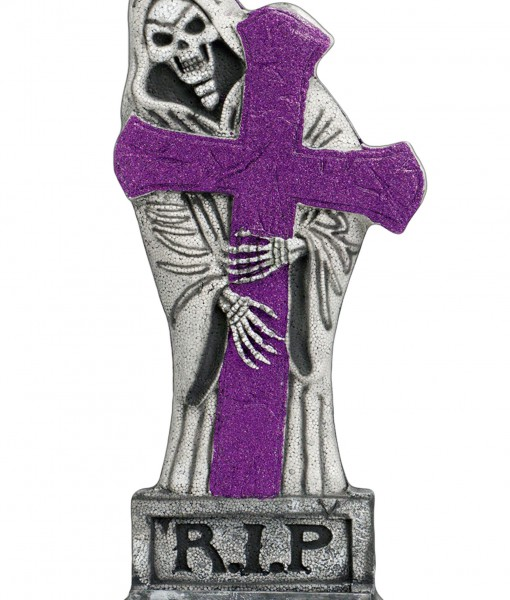 24 inch Purple Glitter Light-Up Grave Stone