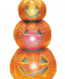 Light Up Glitter Stack Orange Pumpkins