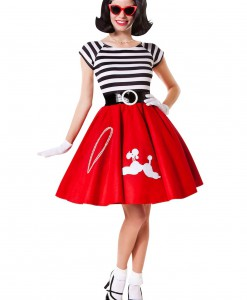 50s Ooh La La Red Poodle Skirt w/ Striped Top