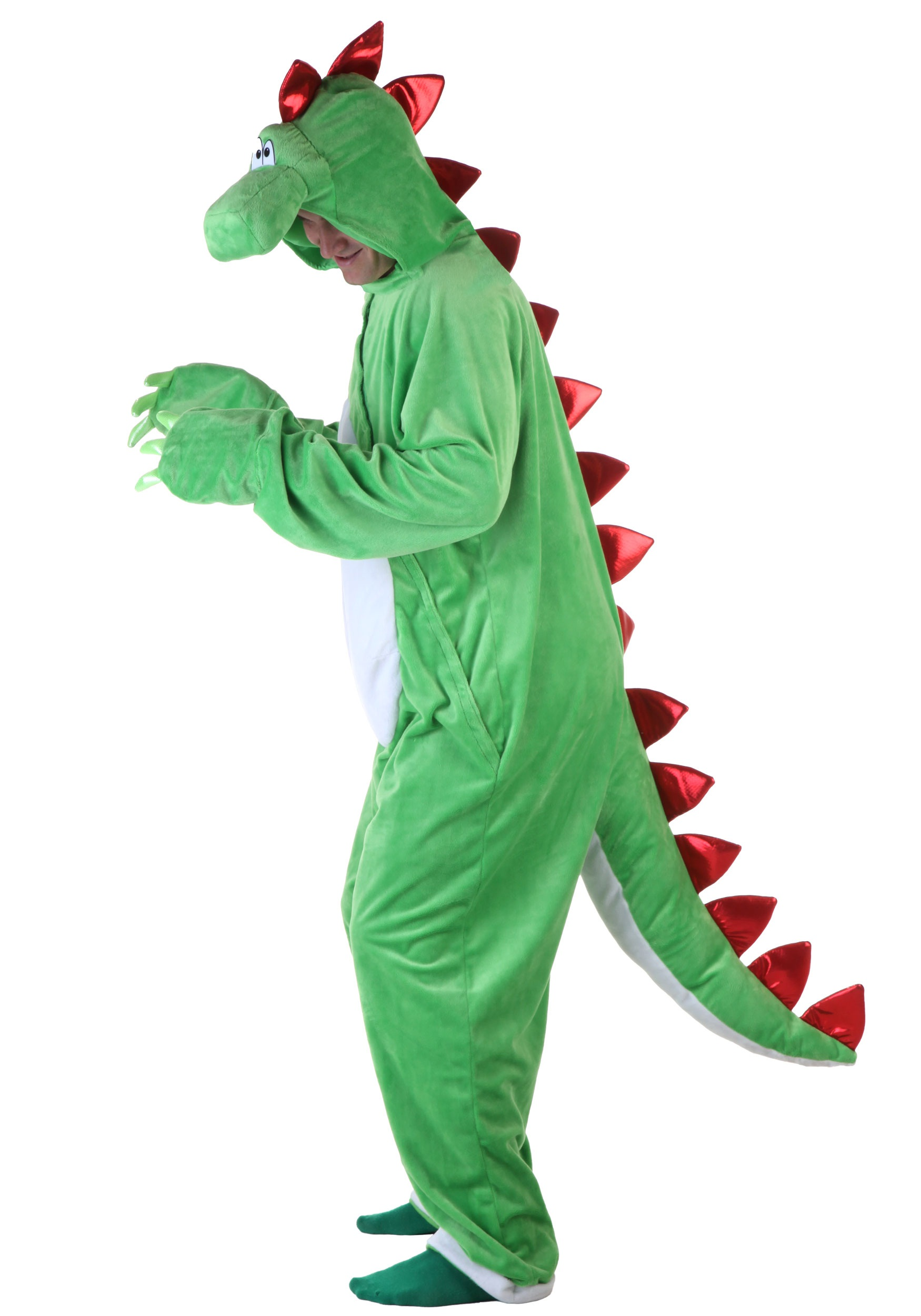 Adult Green Dinosaur W Red Spikes Halloween Costume