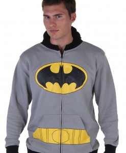 Mens Gray Batman Suit Hoodie