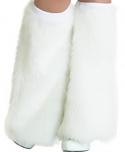 Child White Furry Boot Covers