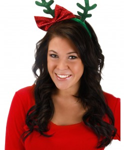 Glitter Antlers with Bow