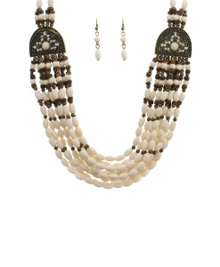 White Beaded Indian Necklace and Earrings