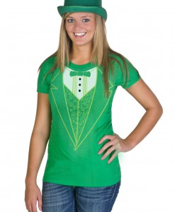 Womens Green Tuxedo Costume T-Shirt