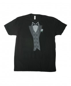 White Flower Black Tuxedo Costume T-Shirt