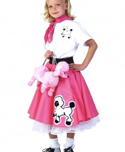 Kids Deluxe Pink Poodle Skirt Costume