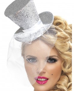 Fever Silver Glitter Mini Top Hat