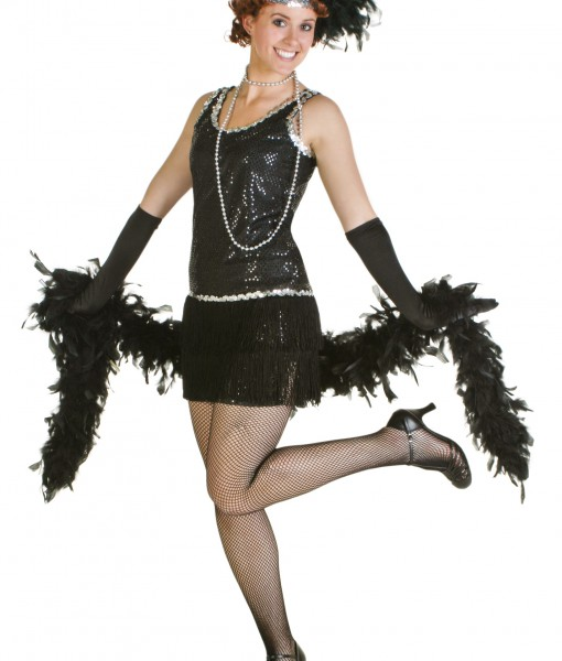 956304e89c1 Sequin & Fringe Black Flapper Dress