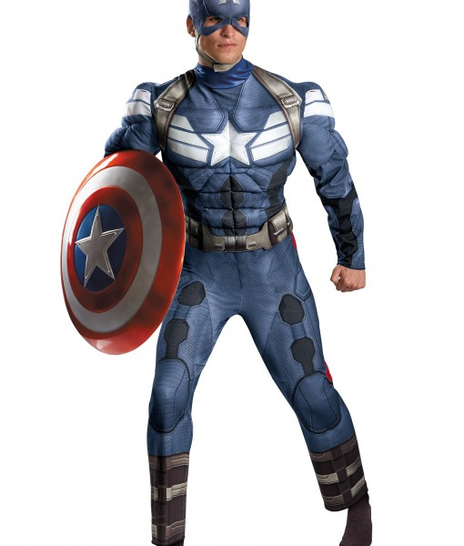 Plus Size Captain America Movie 2 Classic Muscle Costume