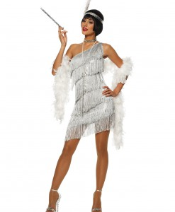 Women's Dazzling Silver Flapper Dress