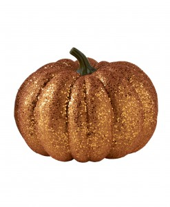 8 Round Orange Glitter Pumpkin