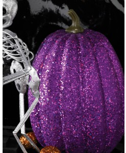 7.5 Tall Purple Glitter Pumpkin